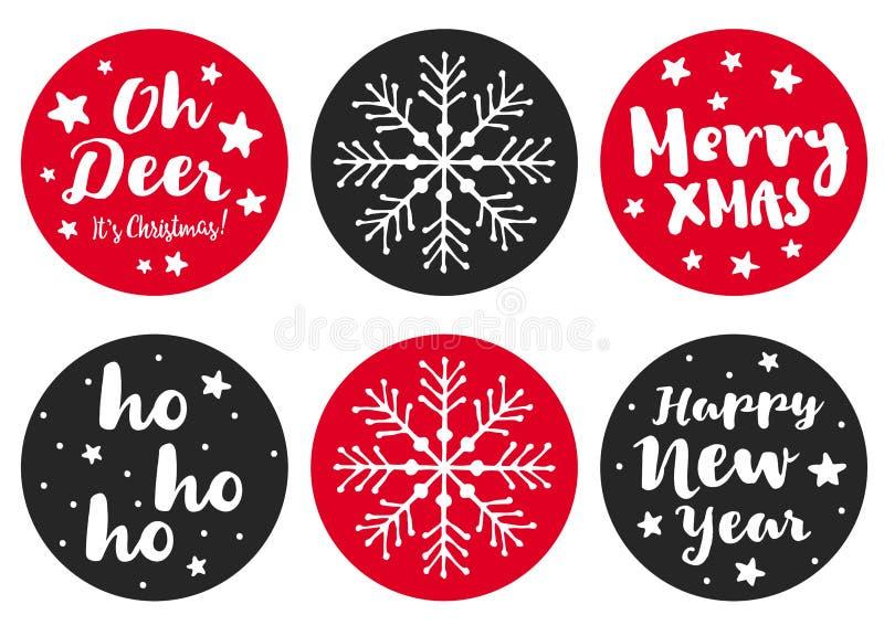 Ajuste de 6 etiquetas bonitos do vetor do Natal da forma redonda Branco, escuro simples - Desig cinzento e vermelho ilustração stock