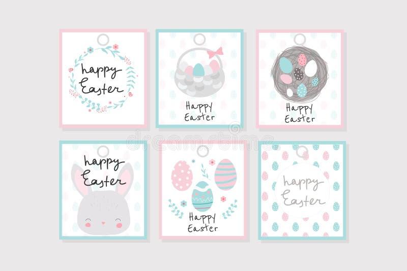 Ajuste de 6 etiquetas do presente da Páscoa com grinalda, coelho, ovos, etc. Aperfeiçoe para etiquetas, remendos, etiquetas, etc. ilustração royalty free