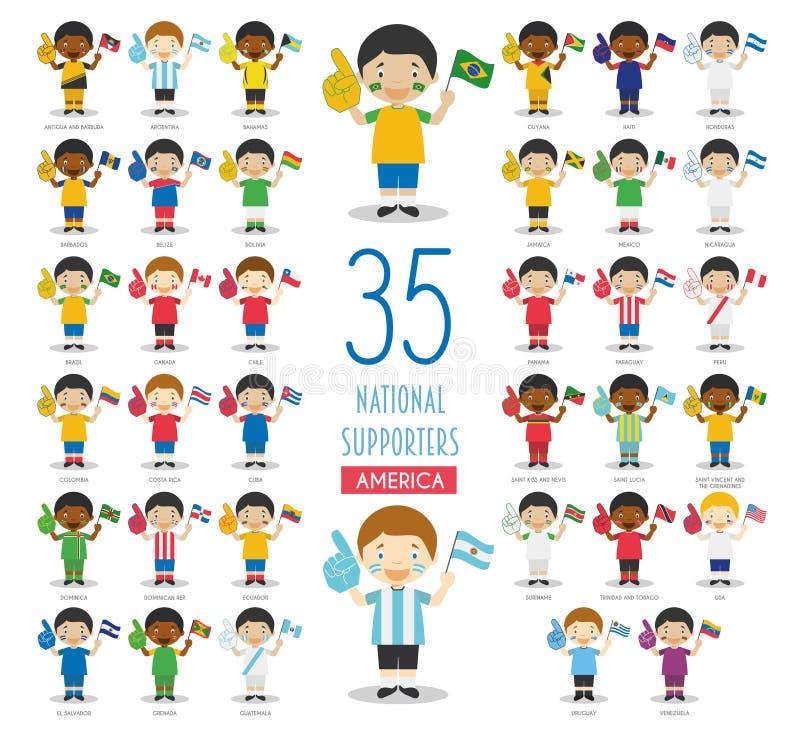 Ajuste de 35 fãs nacionais da equipe de esporte da ilustração americana do vetor dos países ilustração do vetor