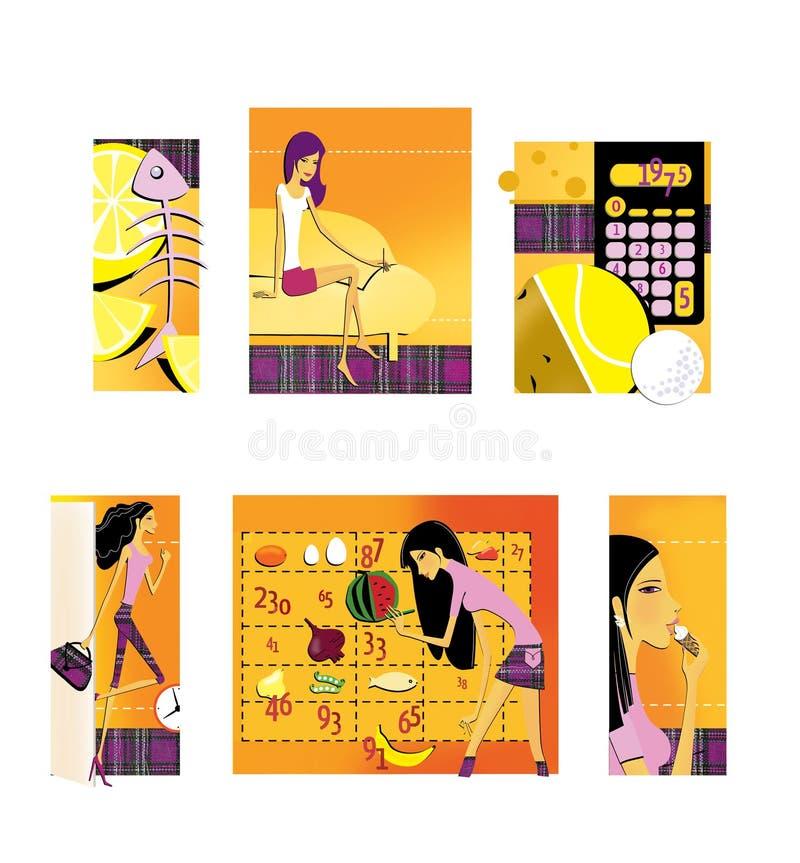 Ajuste de 6 ilustrações no tema da perda da dieta e de peso Limão e o esqueleto dos peixes Uma morena de pernas longas fina ilustração do vetor