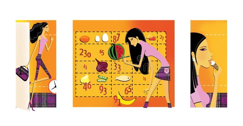 Ajuste de 3 ilustrações no tema da perda da dieta e de peso Uma morena fina, de pernas longas entra no estar aberto A menina ilustração do vetor