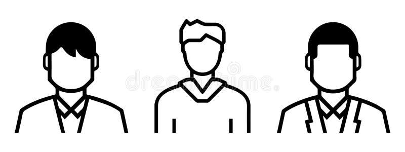Ajuste de incluir masculino esboçado dos avatars: formas formais e informais Linha arte ilustração stock