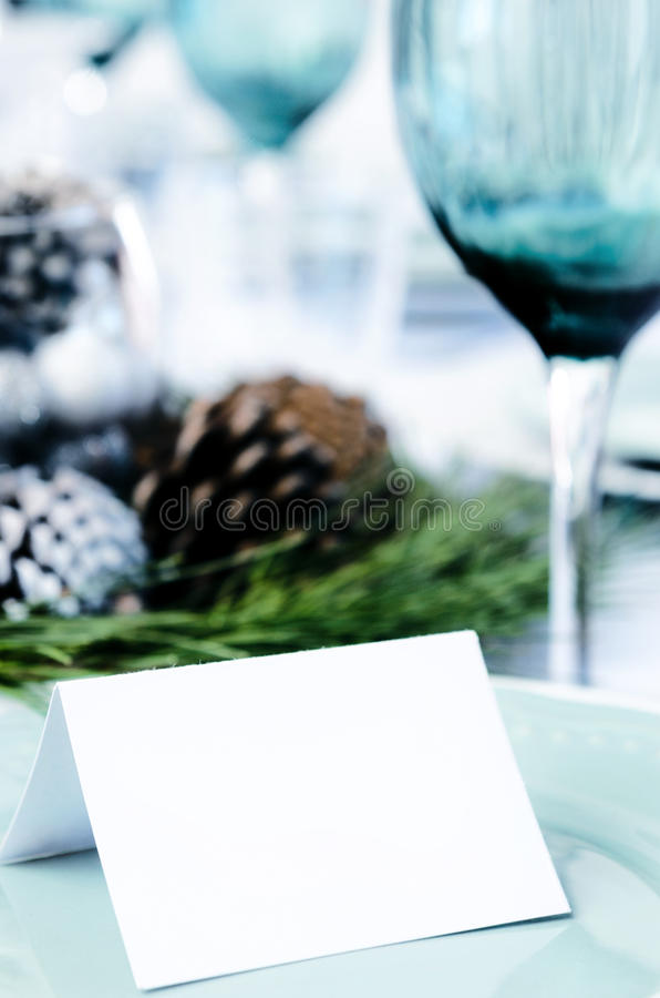 Ajuste de la cena de la Navidad en azul imagen de archivo libre de regalías