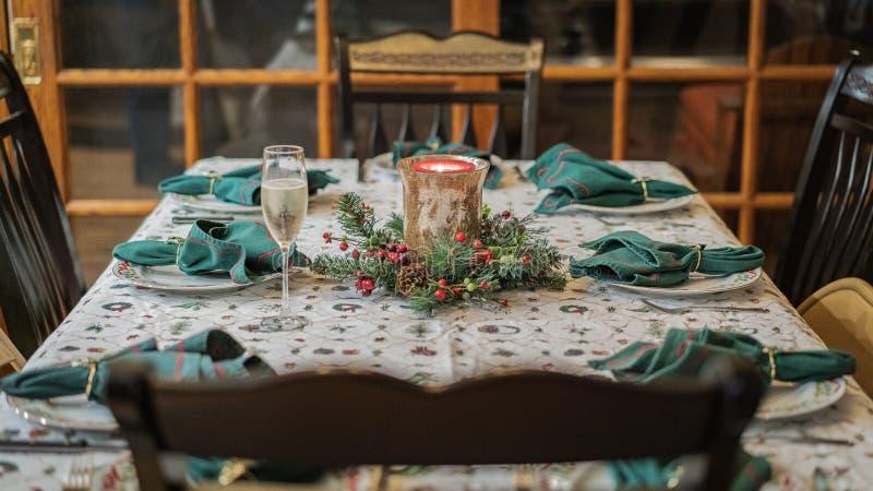 Ajuste de la cena de la Navidad imagenes de archivo