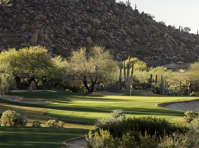 Ajuste de la comunidad del campo de golf del estilo del desierto de Arizona fotografía de archivo libre de regalías
