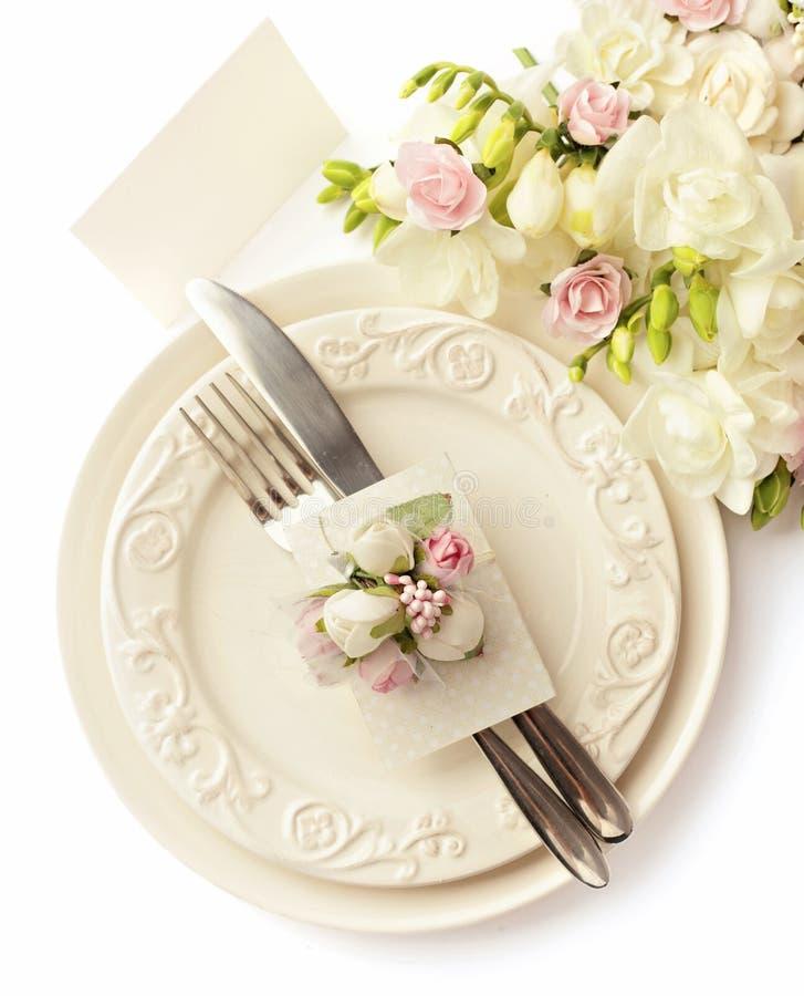 Ajuste de la tabla de la boda fotos de archivo libres de regalías