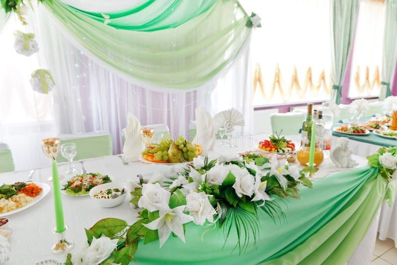 Ajuste de la tabla de la boda foto de archivo libre de regalías