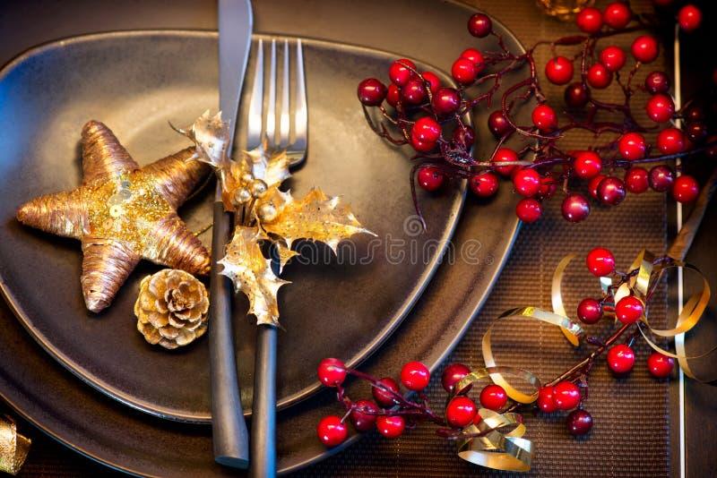 Ajuste de la tabla de la Navidad imagen de archivo