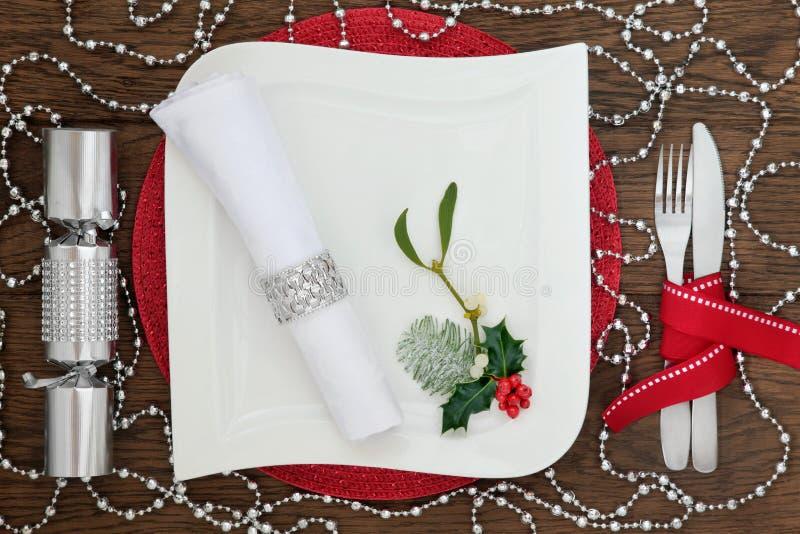 Ajuste de la tabla de la Navidad de la diversión fotografía de archivo libre de regalías
