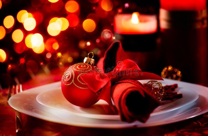 Ajuste de la tabla del día de fiesta de la Navidad fotos de archivo