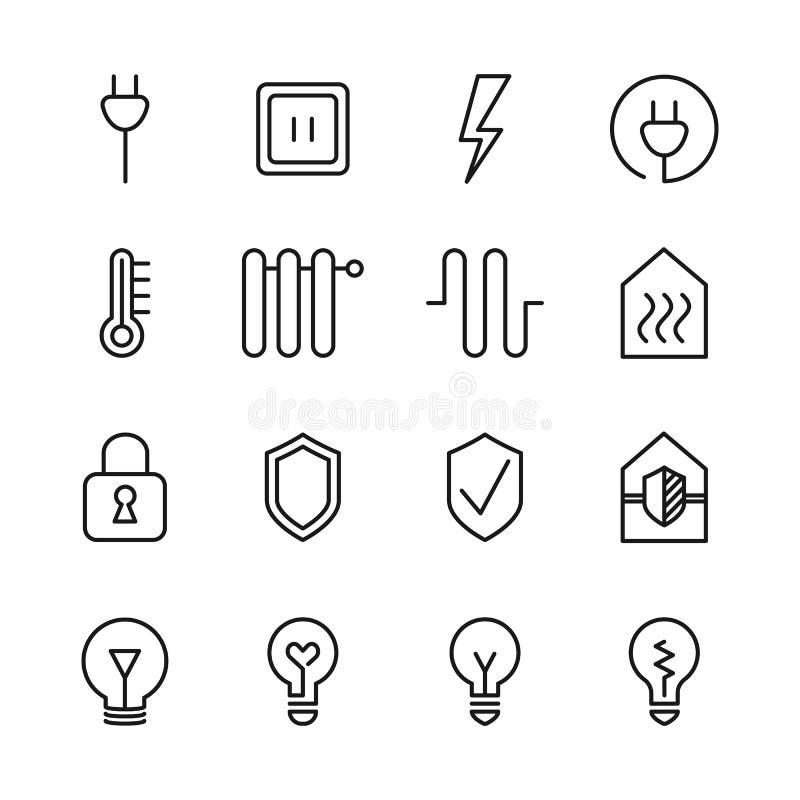 Ajuste de linha relacionada ícones do vetor da casa esperta ilustração royalty free
