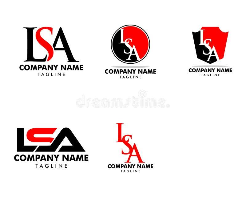 Ajuste de LSA Logo Template Design da letra inicial ilustração royalty free