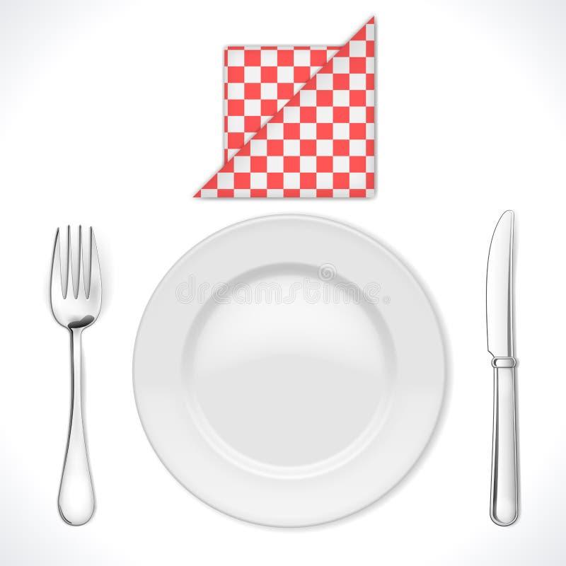 Ajuste de lugar do jantar ilustração stock