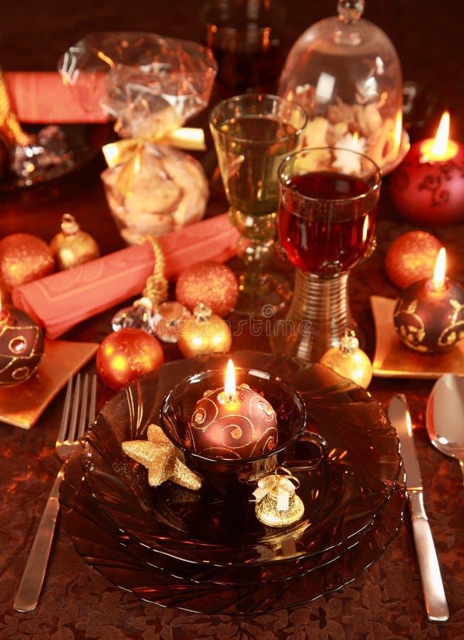 Ajuste de lugar luxuoso para o Natal fotografia de stock royalty free