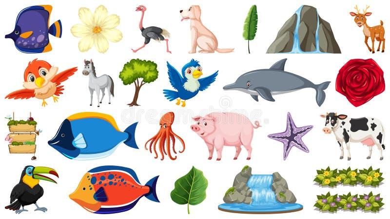 Ajuste de muitos animais ilustração royalty free