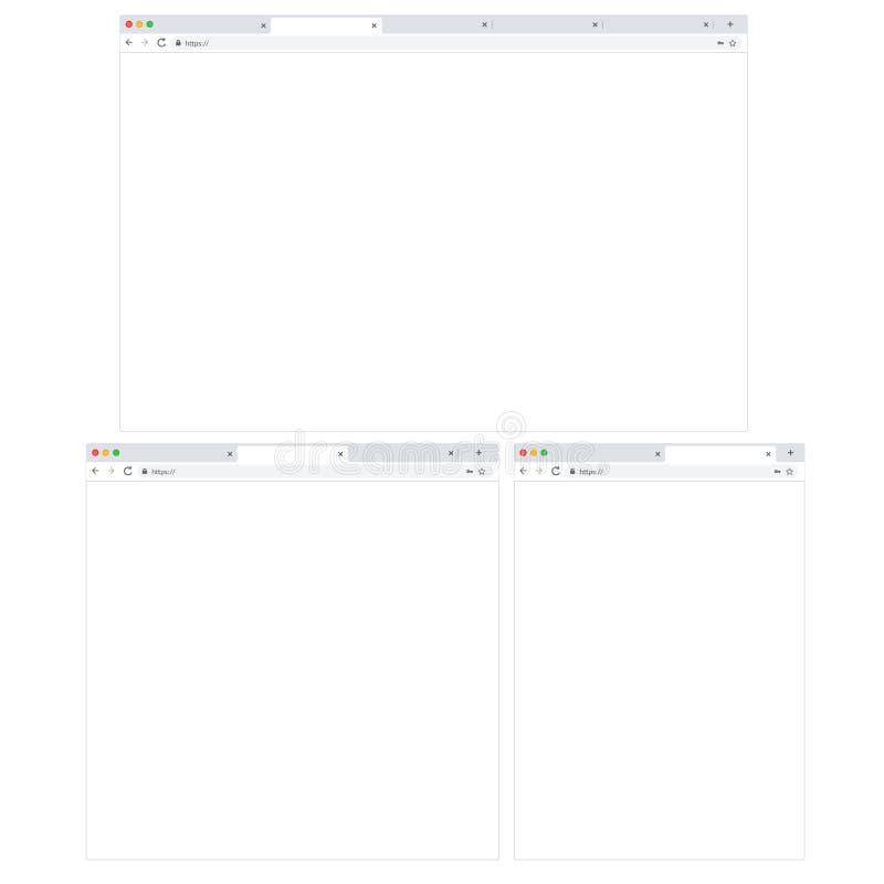 Ajuste de 3 navegadores responsivos - Desktop, tabuleta e móbil Navegador vazio ilustração stock