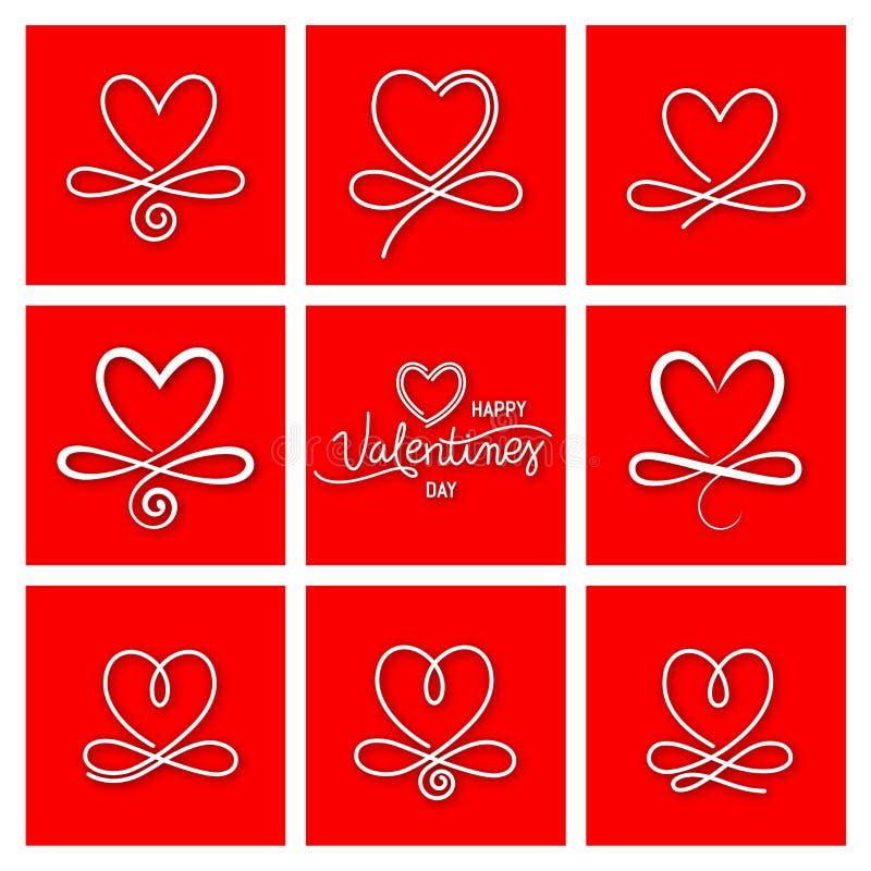 Ajuste de nove corações do vetor do vintage ilustração do vetor