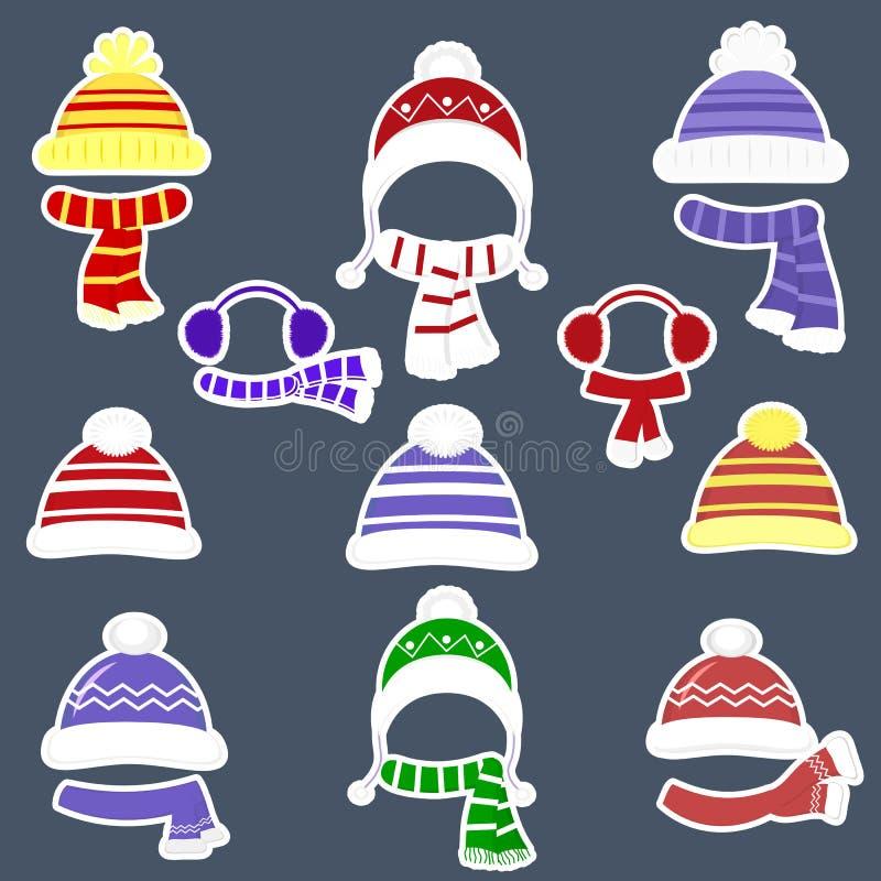 Ajuste de nove etiquetas diferentes dos chapéus e dos scarves para meninos e meninas no tempo frio ou para esportes em um curso b ilustração stock