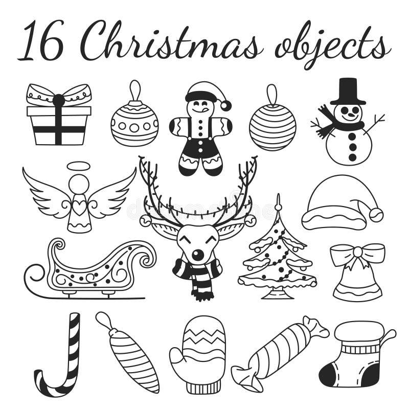 Ajuste de 16 objetos do vetor do Natal Coleção para criar testes padrões, fundos e ilustrações do Natal imagens de stock