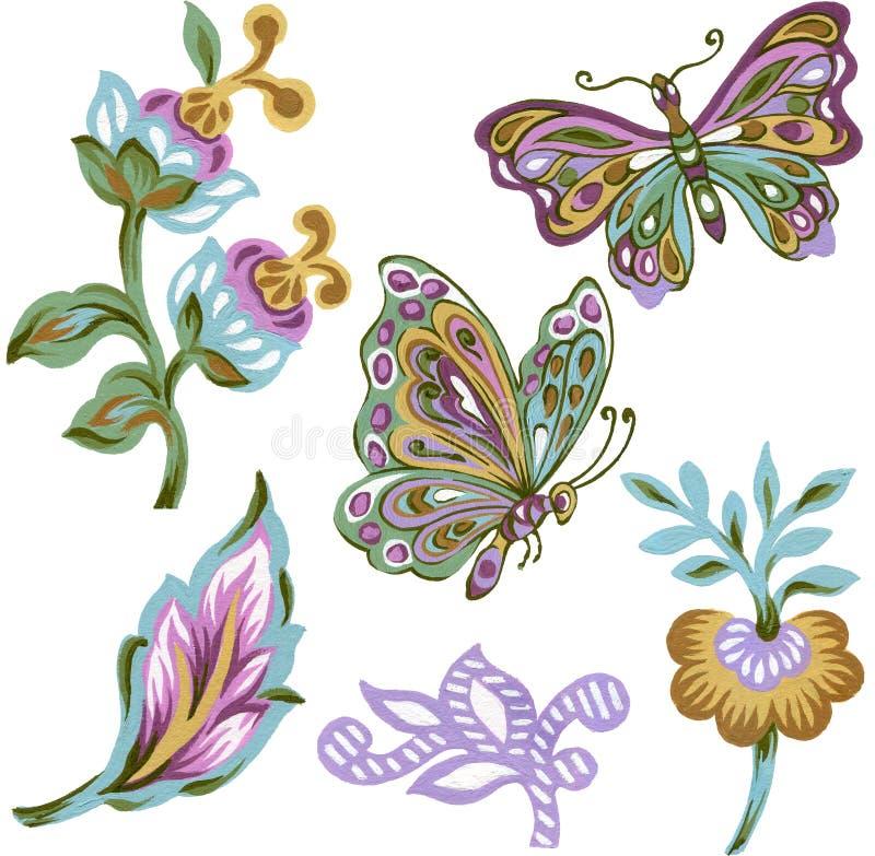 Ajuste de paisley que os elementos orientais abstraem flores e folhas e ramalhete colorido da borboleta no fundo branco ilustração do vetor