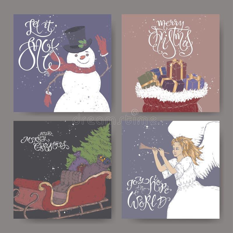 Ajuste de quatro bandeiras da cor com cumprimento da rotulação da escova, empresário, anjo, um trenó com árvore de Natal e os sac ilustração royalty free