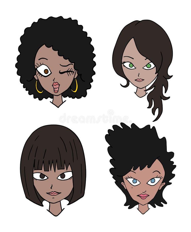 Ajuste de quatro caras das mulheres ilustração do vetor