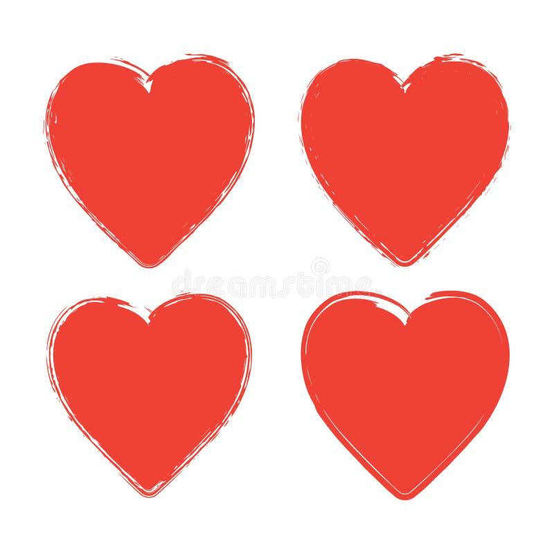 Ajuste de quatro corações vermelhos do grunge no fundo branco ilustração royalty free
