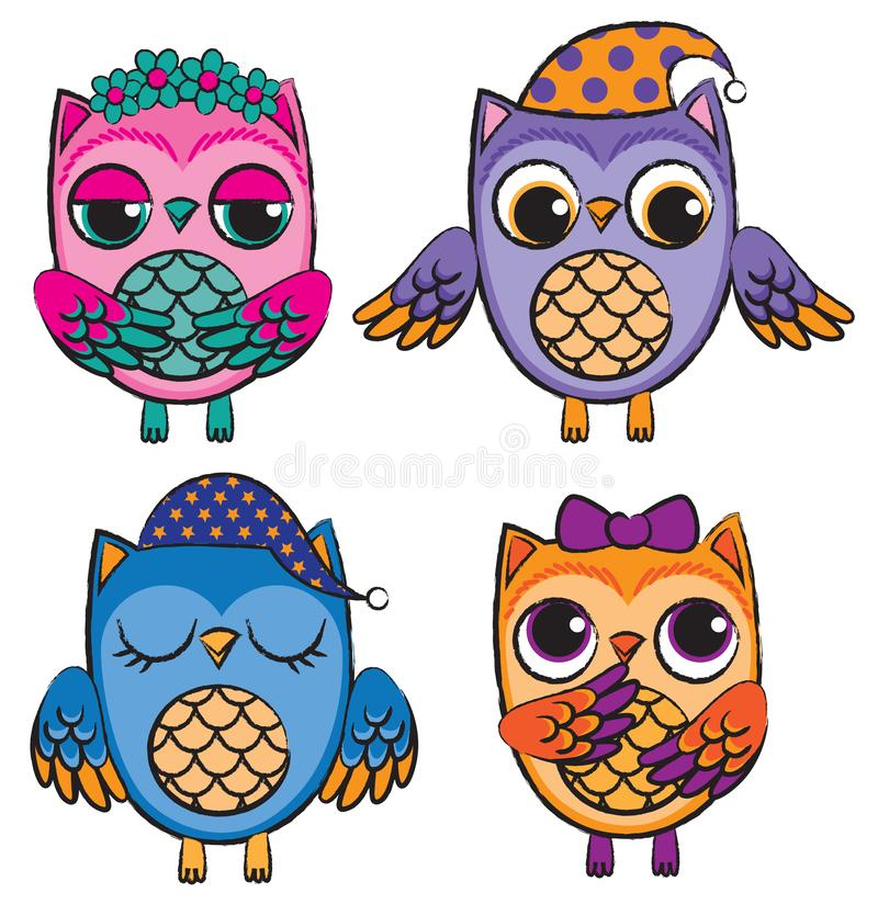 Ajuste de quatro corujas coloridas bonitos do vetor ilustração royalty free
