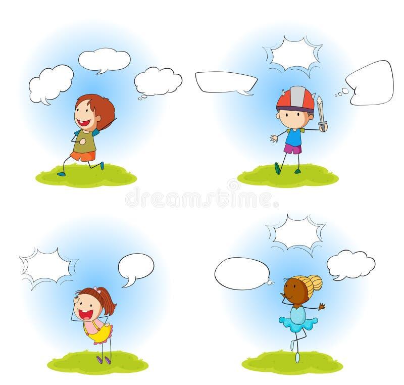 Ajuste de quatro crianças com bolhas do discurso ilustração do vetor