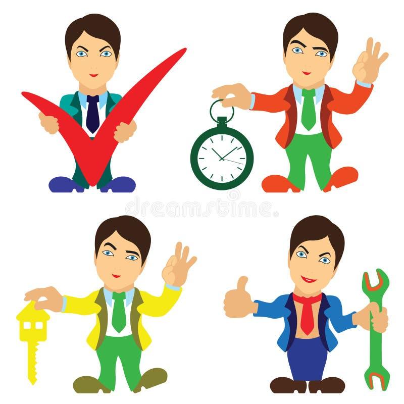 Ajuste de quatro homens felizes dos desenhos animados ilustração stock