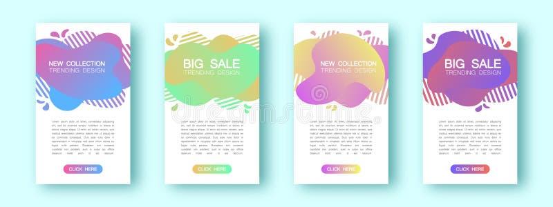 Ajuste de quatro insetos líquidos elegantes Para um convite, para anunciar, para atrair clientes Inclinações coloridos ilustração royalty free