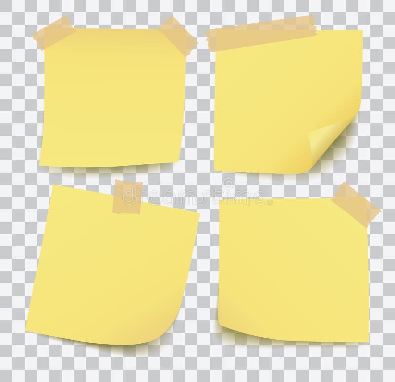 Ajuste de quatro notas de post-it amarelas do vetor vazio realístico com a fita isolada no fundo branco ilustração do vetor