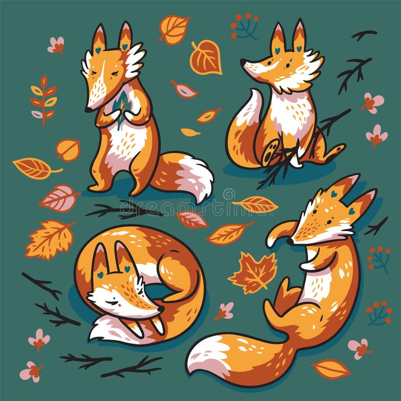 Ajuste de quatro raposas bonitos nas folhas de outono Ilustração doce do vetor ilustração royalty free