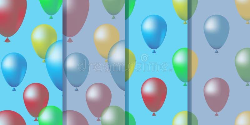 Ajuste de quatro testes padrões sem emenda com os balões coloridos no céu no estilo realístico Ilustração colorida bonito, vetor  ilustração do vetor