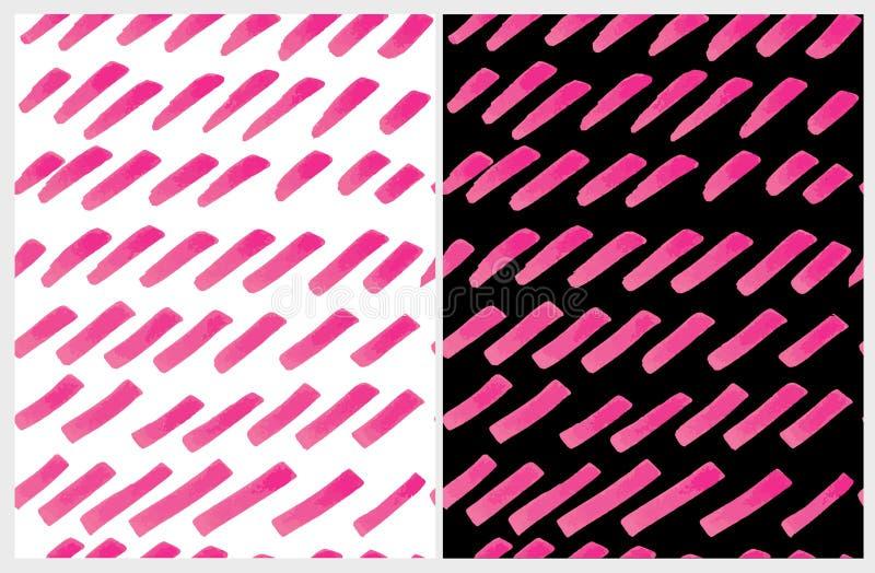 Ajuste de 2 que a escova abstrata bonito alinha o teste padrão do vetor Mão irregular cor-de-rosa listras tiradas ilustração royalty free
