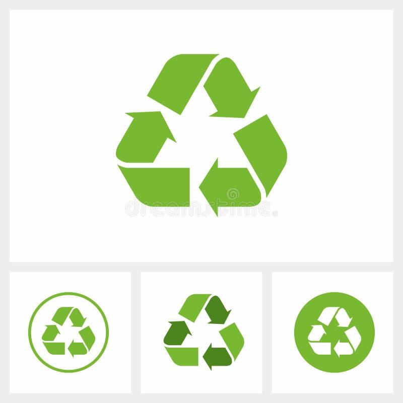 Ajuste de reciclam o ícone Recicle o símbolo, cor verde do eco ilustração stock