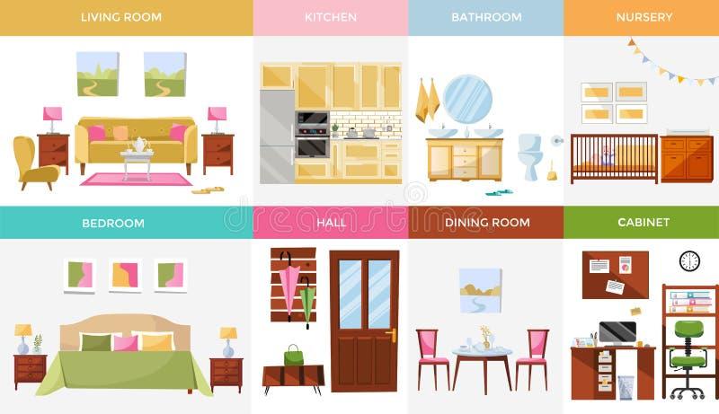 Ajuste de 8 salas da casa do design de interiores com mobília: sala de visitas, quarto, cozinha, escritório domiciliário, sala de ilustração royalty free