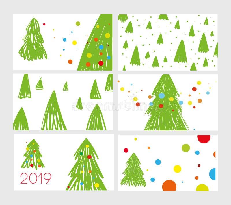 Ajuste de seis cartão por 2019 anos novos Árvore de Natal bonito dos esboços com bolas As árvores de Natal são feitas na técnica ilustração do vetor
