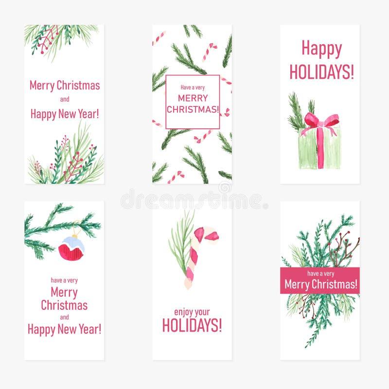 Ajuste de seis cartões do ano novo com elementos desenhados à mão da aquarela Cartazes do Natal com presentes de época natalícia, ilustração do vetor