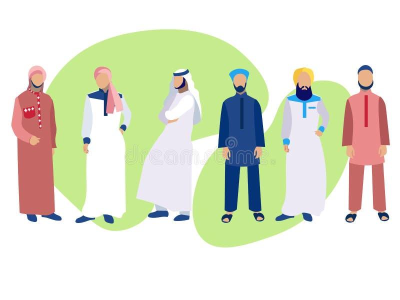 Ajuste de seis homens, um grupo de árabes no vestido nacional No estilo minimalista Vetor liso dos desenhos animados ilustração royalty free