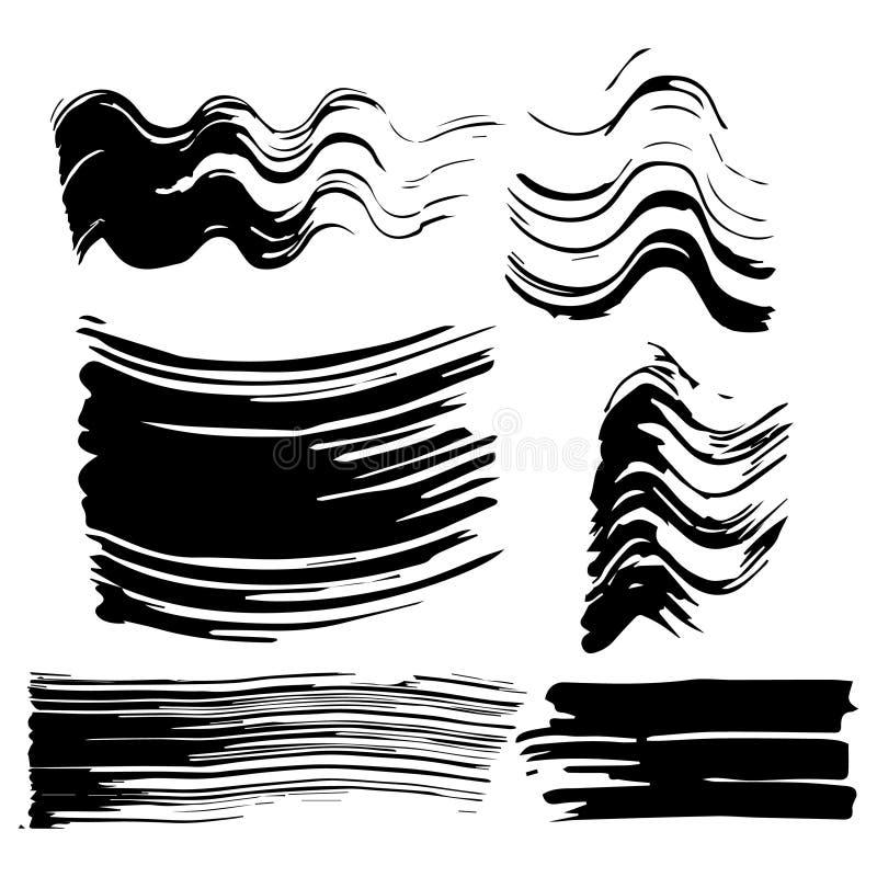 Ajuste de seis impressões do rímel Cópias pretas, manchas, manchas em um fundo branco isolado ilustração stock