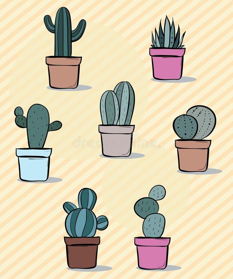Ajuste de sete ilustrações do vetor de plantas da planta carnuda e do cacto ilustração stock