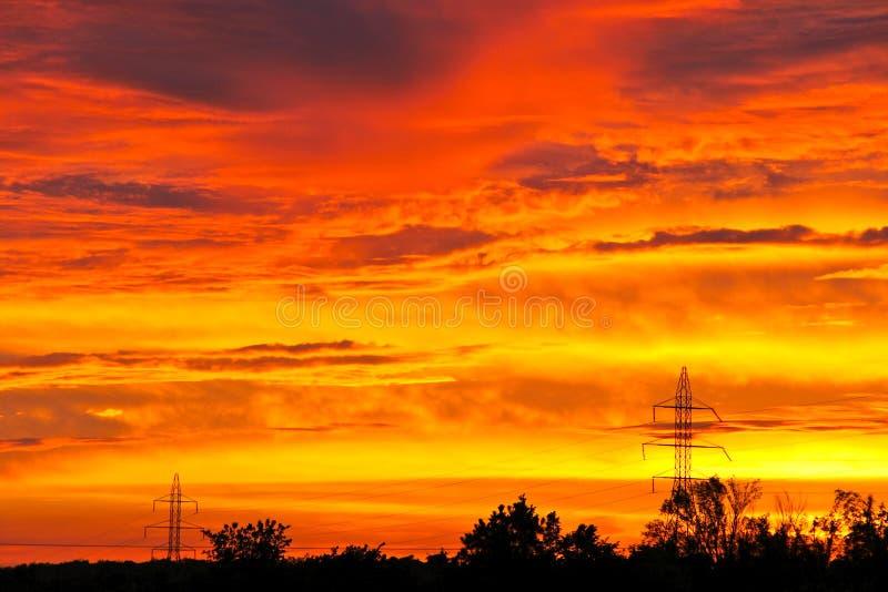 Ajuste de Sun en una noche de Oklahoma foto de archivo libre de regalías