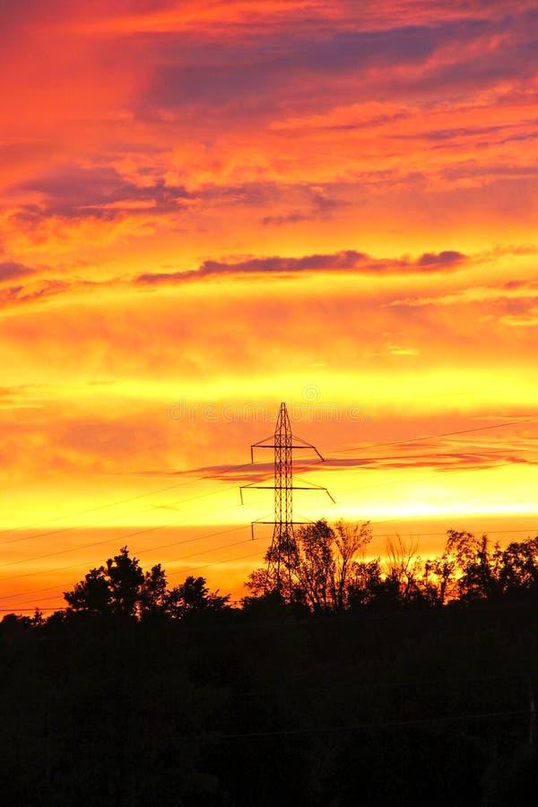 Ajuste de Sun en una noche de Oklahoma fotografía de archivo