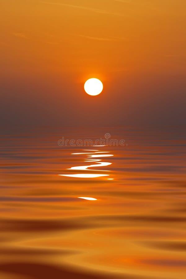 Ajuste de Sun no oceano calmo ilustração stock