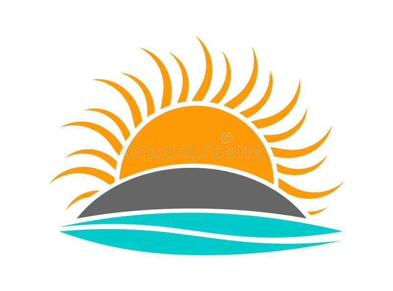 Ajuste de Sun sobre o logotipo do ícone da onda da ilha e do mar ilustração stock
