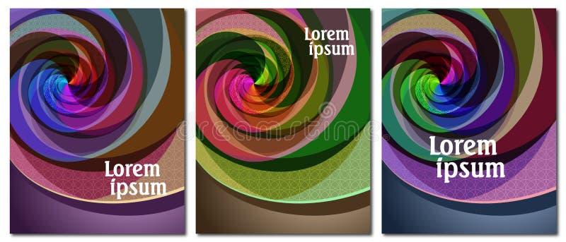 Ajuste de 3 tampas com projeto original da espiral da multi-cor do sumário ilustração do vetor