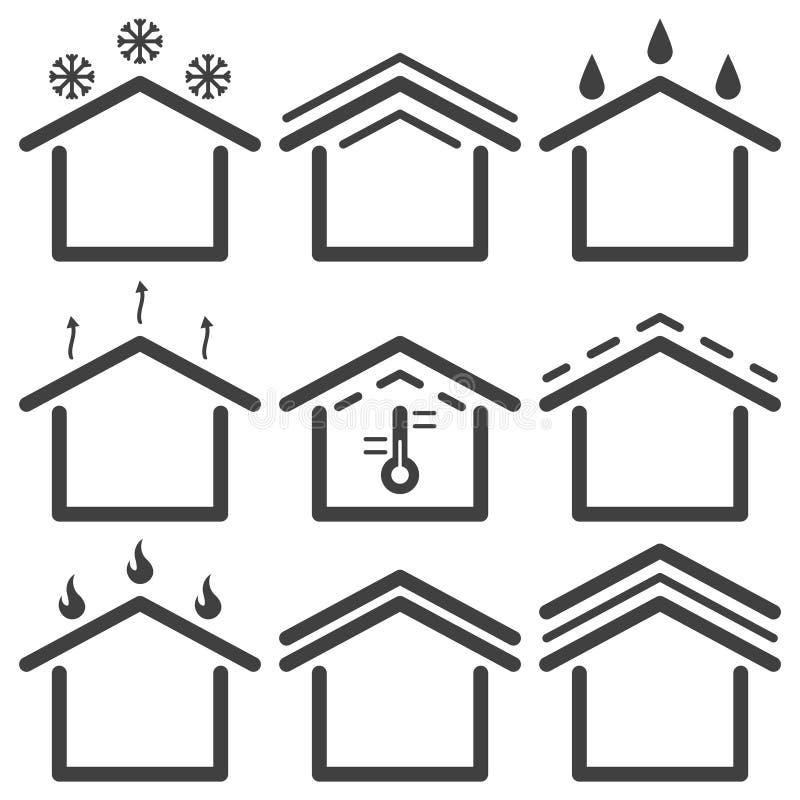 Ajuste de telhar ícones Vetor no fundo branco ilustração stock