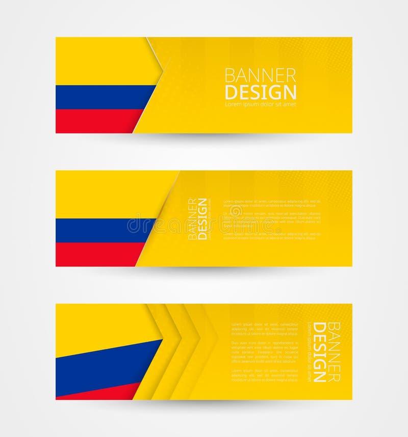 Ajuste de três bandeiras horizontais com a bandeira de Colômbia Molde do projeto da bandeira da Web na cor da bandeira de Colômbi ilustração stock
