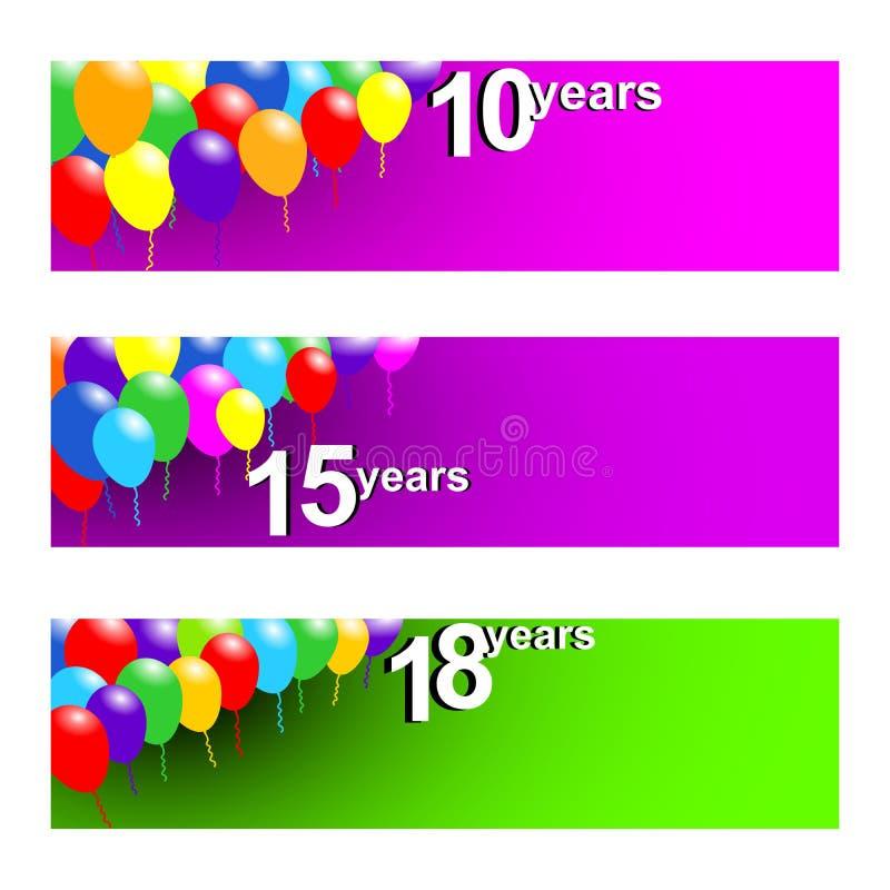 Ajuste de três bandeiras para o aniversário com 10,15 e 20 anos ilustração royalty free